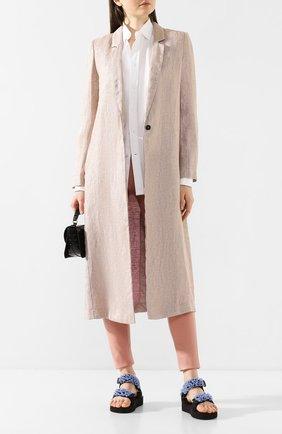Женское пальто из смеси льна и вискозы FORTE_FORTE сиреневого цвета, арт. 7007 | Фото 2