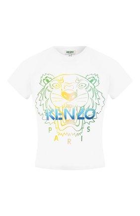 Женская хлопковая футболка KENZO белого цвета, арт. FA52TS6164YH | Фото 1