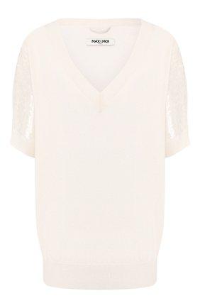 Женская пуловер из смеси шерсти и кашемира MAX&MOI белого цвета, арт. E20BALE | Фото 1