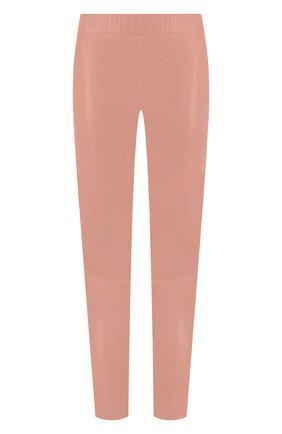 Женские кожаные леггинсы MAX&MOI розового цвета, арт. PERLEGGING | Фото 1