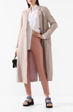 Женские кожаные леггинсы MAX&MOI розового цвета, арт. PERLEGGING | Фото 2