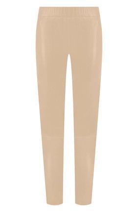 Женские кожаные леггинсы MAX&MOI кремвого цвета, арт. PERLEGGING | Фото 1