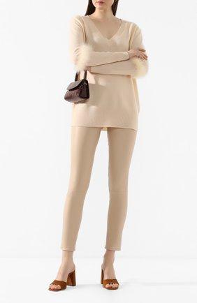 Женские кожаные леггинсы MAX&MOI кремвого цвета, арт. PERLEGGING | Фото 2