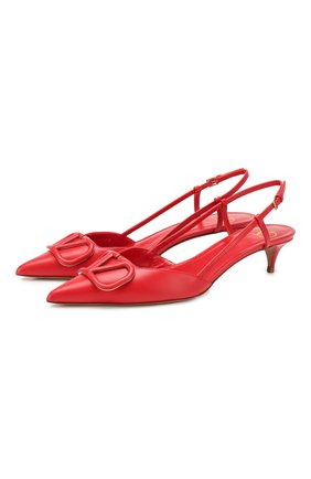 Женская кожаные туфли valentino garavani vlogo VALENTINO красного цвета, арт. TW2S0Q70/MZF | Фото 1