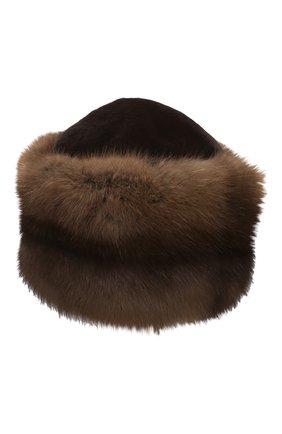 Женская шапка из меха норки и соболя KUSSENKOVV коричневого цвета, арт. 060213605455   Фото 1 (Материал: Натуральный мех)