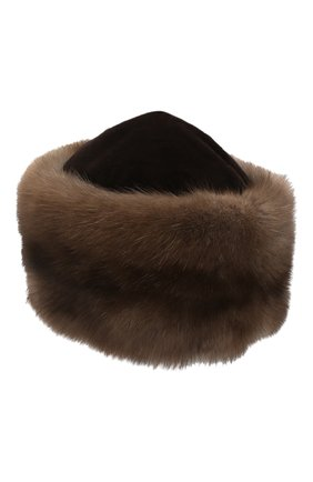 Женская шапка из меха норки и соболя KUSSENKOVV коричневого цвета, арт. 060213605455   Фото 2 (Материал: Натуральный мех)