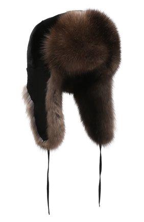 Мужская шапка-ушанка из меха норки и соболя FURLAND коричневого цвета, арт. 0090907450135600000 | Фото 1