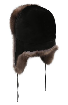 Мужская шапка-ушанка из меха норки и соболя FURLAND коричневого цвета, арт. 0090907450135600000 | Фото 2