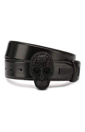 Мужской кожаный ремень PHILIPP PLEIN черного цвета, арт. S20A MVA0537 PLE096N | Фото 1