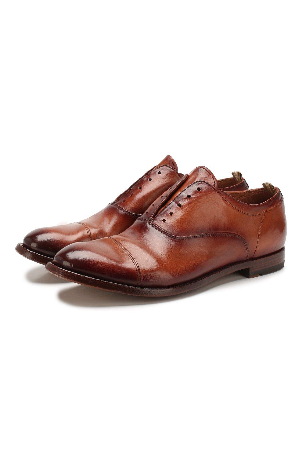 Мужские кожаные оксфорды OFFICINE CREATIVE коричневого цвета, арт. ANAT0MIA/08/AER0 CANY0N | Фото 1 (Материал внутренний: Натуральная кожа; Стили: Классический)