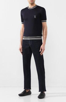 Мужские кожаные мокасины BRIONI темно-синего цвета, арт. QYP00L/P7731 | Фото 2