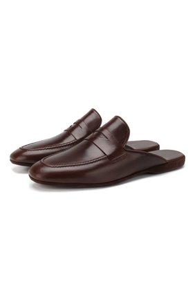 Мужского кожаные домашние туфли FARFALLA темно-коричневого цвета, арт. G13 | Фото 1