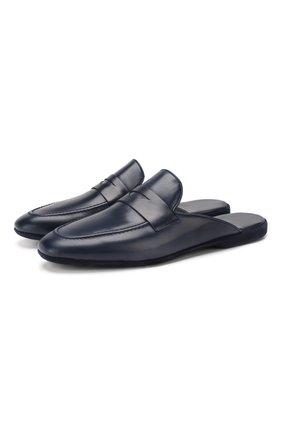 Мужского кожаные домашние туфли FARFALLA темно-синего цвета, арт. G13 | Фото 1
