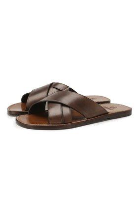 Мужские кожаные шлепанцы SILVANO SASSETTI темно-коричневого цвета, арт. S19957X409AELBAPI0M | Фото 1