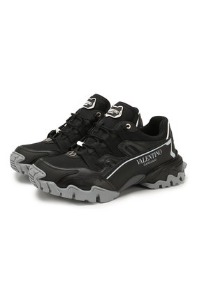 Мужские комбинированные кроссовки valentino garavani climbers VALENTINO черного цвета, арт. TY2S0C20/DRZ | Фото 1