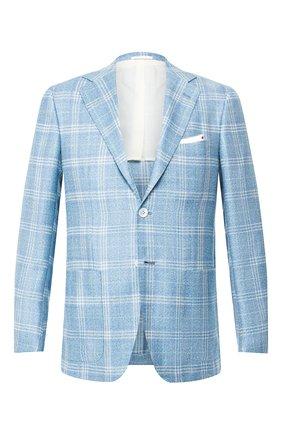Мужской пиджак из смеси кашемира и шелка KITON голубого цвета, арт. UG81K06S21 | Фото 1