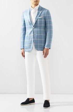 Мужской пиджак из смеси кашемира и шелка KITON голубого цвета, арт. UG81K06S21 | Фото 2