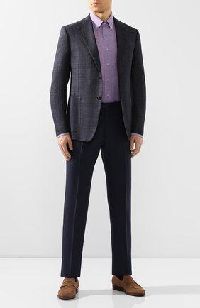 Мужская рубашка из смеси хлопка и льна ZILLI голубого цвета, арт. MFT-02103-01190/RZ02   Фото 2