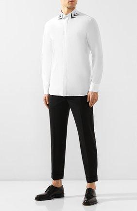Мужская хлопковая рубашка NEIL BARRETT белого цвета, арт. PBCM1298S/N007S | Фото 2
