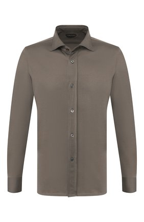 Мужская хлопковая рубашка TOM FORD хаки цвета, арт. BU263/TFJ977 | Фото 1