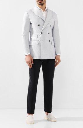 Мужской шелковые брюки GIORGIO ARMANI темно-синего цвета, арт. 0SGPP0BE/T00Q7 | Фото 2