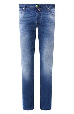 Мужские джинсы JACOB COHEN синего цвета, арт. J622 C0MF 01372-W4/53 | Фото 1 (Материал внешний: Хлопок; Длина (брюки, джинсы): Стандартные; Кросс-КТ: Деним; Детали: Потертости; Силуэт М (брюки): Прямые)