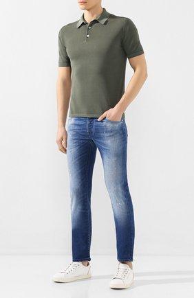 Мужские джинсы JACOB COHEN синего цвета, арт. J622 C0MF 01372-W4/53 | Фото 2 (Материал внешний: Хлопок; Длина (брюки, джинсы): Стандартные; Кросс-КТ: Деним; Детали: Потертости; Силуэт М (брюки): Прямые)