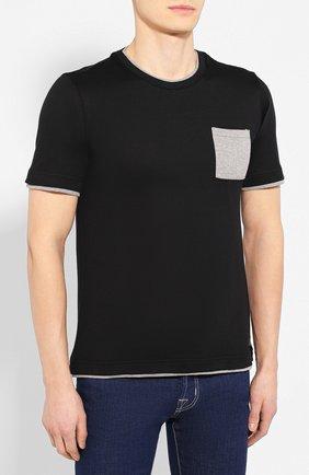 Мужская хлопковая футболка ELEVENTY PLATINUM черного цвета, арт. A75TSHA03 JER0A006 | Фото 3
