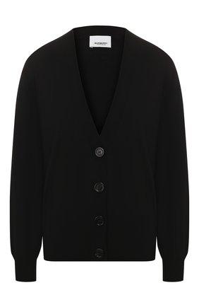 Женский шерстяной кардиган BURBERRY черного цвета, арт. 8024593 | Фото 1