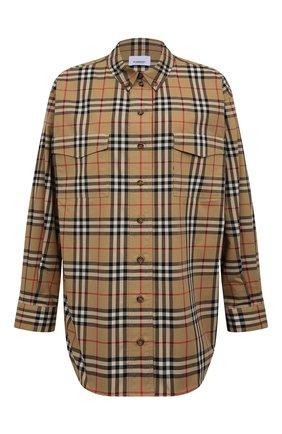 Женская хлопковая рубашка BURBERRY бежевого цвета, арт. 8022285 | Фото 1