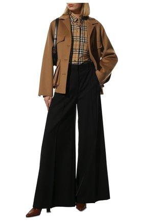 Женская хлопковая рубашка BURBERRY бежевого цвета, арт. 8022285 | Фото 2