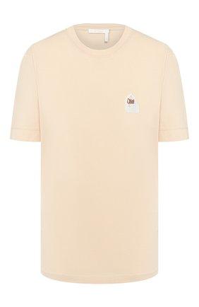 Женская хлопковая футболка CHLOÉ розового цвета, арт. CHC20SJH13181 | Фото 1