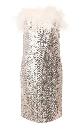 Женское платье с пайетками SAINT LAURENT серебряного цвета, арт. 603962/Y059R   Фото 1