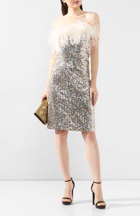 Женское платье с пайетками SAINT LAURENT серебряного цвета, арт. 603962/Y059R   Фото 2