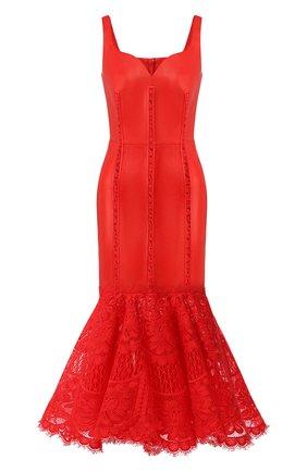Женское кожаное платье ALEXANDER MCQUEEN красного цвета, арт. 610854/Q5AC0 | Фото 1