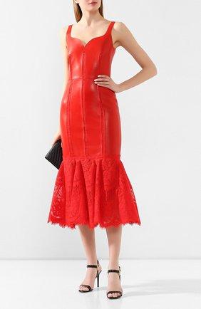 Женское кожаное платье ALEXANDER MCQUEEN красного цвета, арт. 610854/Q5AC0 | Фото 2