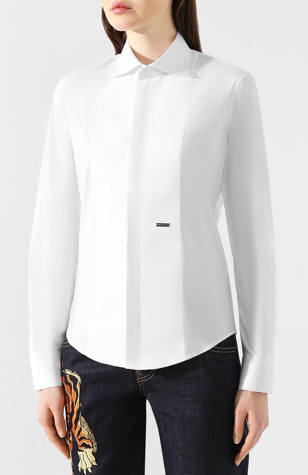 Женская хлопковая рубашка DSQUARED2 белого цвета, арт. S75DL0698/S42381 | Фото 3