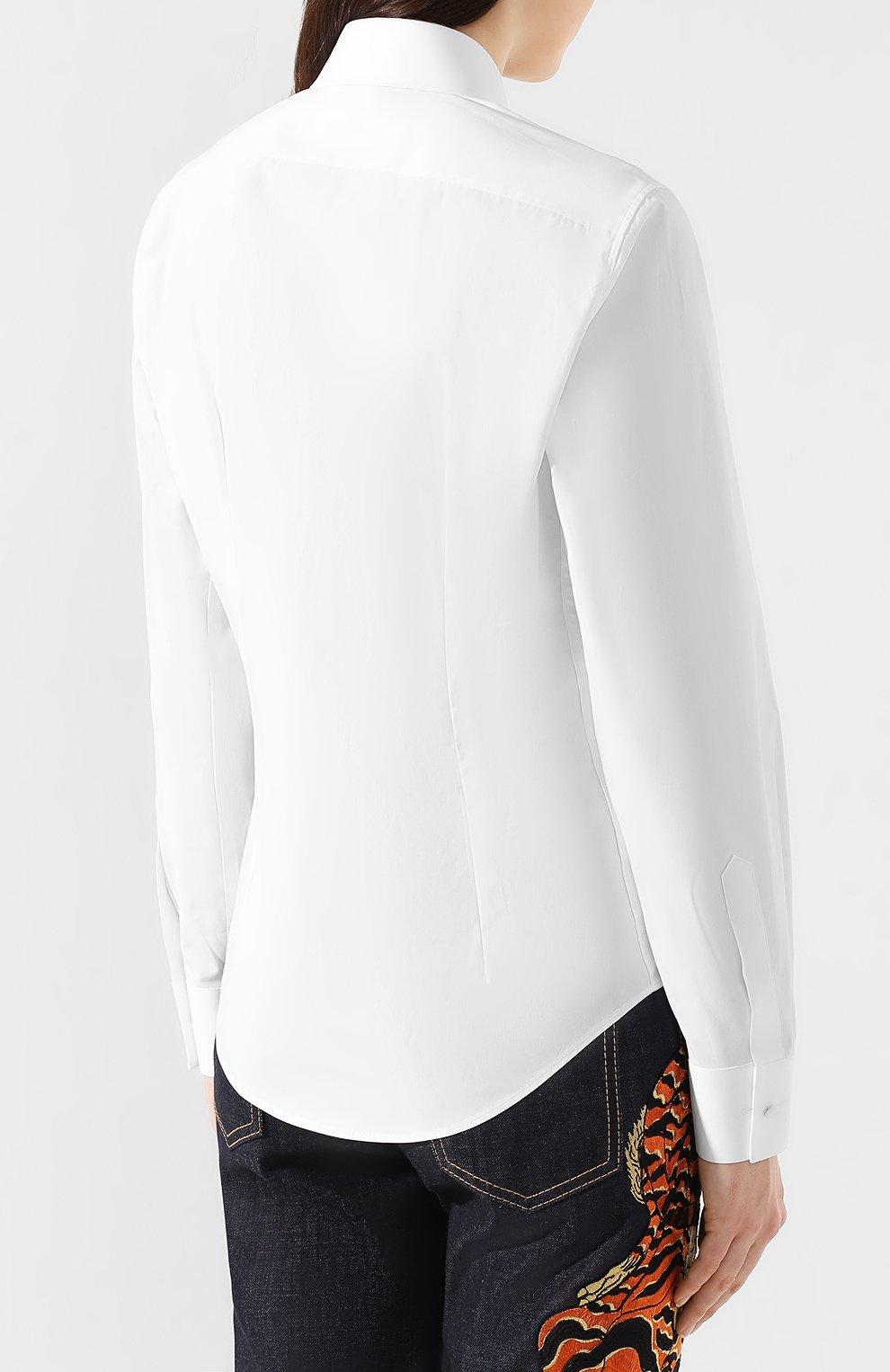 Женская хлопковая рубашка DSQUARED2 белого цвета, арт. S75DL0698/S42381 | Фото 4