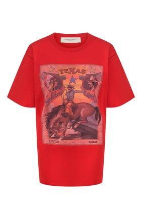 Женская хлопковая футболка GOLDEN GOOSE DELUXE BRAND красного цвета, арт. G36WP026.T7 | Фото 1