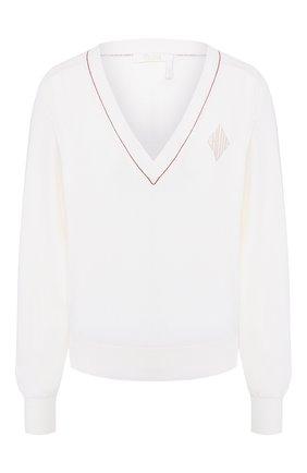Женская пуловер из смеси шерсти и шелка CHLOÉ белого цвета, арт. CHC20SMP69600 | Фото 1