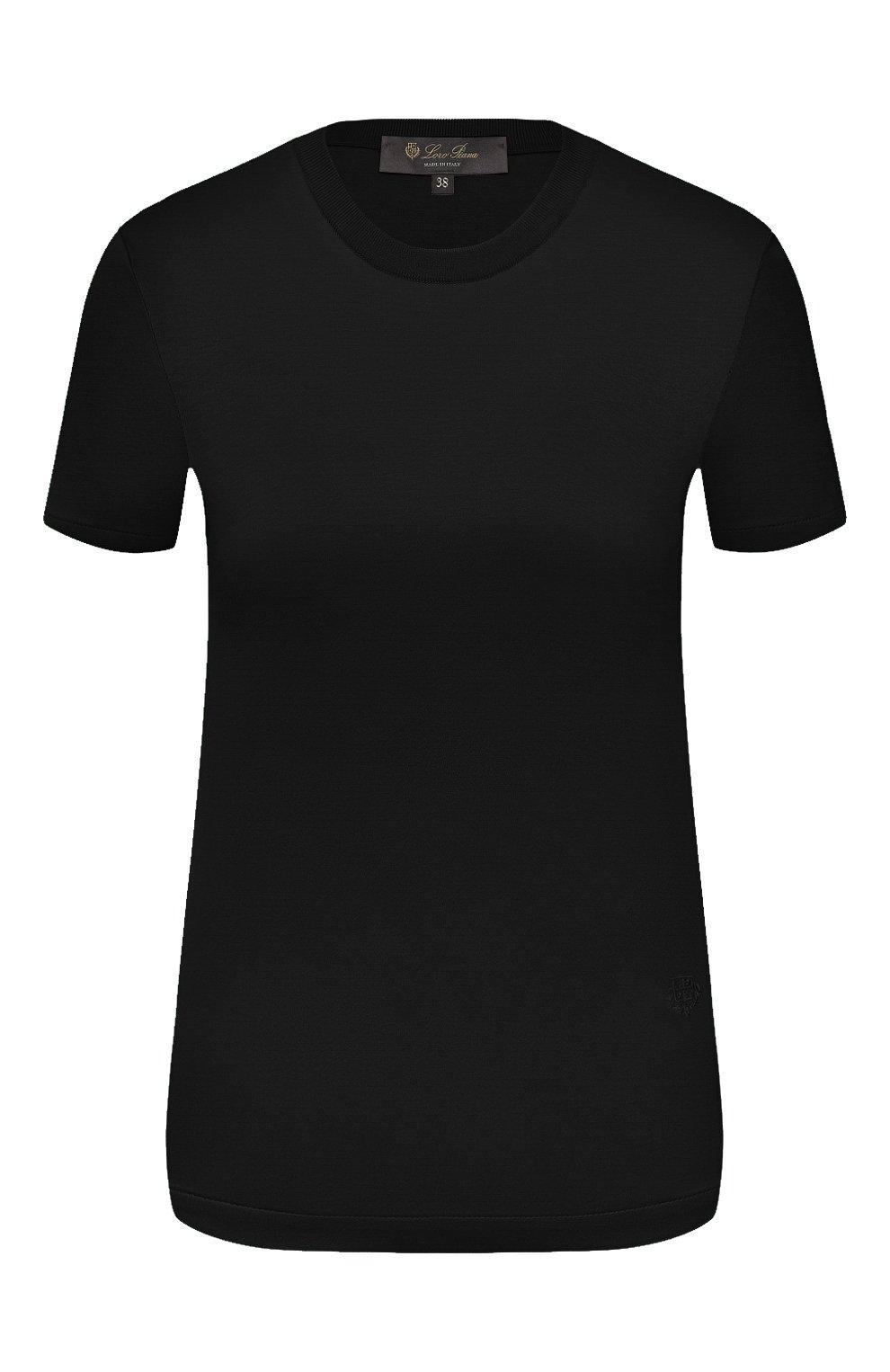 Женская хлопковая футболка LORO PIANA темно-синего цвета, арт. FAI5069   Фото 1 (Принт: Без принта; Рукава: Короткие; Длина (для топов): Стандартные; Материал внешний: Хлопок; Стили: Классический, Минимализм, Кэжуэл)