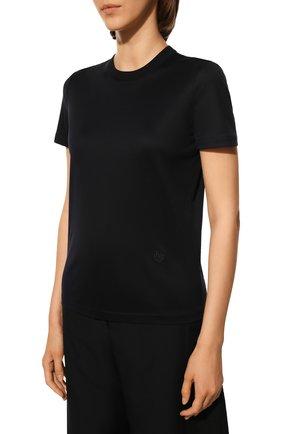 Женская хлопковая футболка LORO PIANA темно-синего цвета, арт. FAI5069   Фото 3 (Принт: Без принта; Рукава: Короткие; Длина (для топов): Стандартные; Материал внешний: Хлопок; Стили: Классический, Минимализм, Кэжуэл)