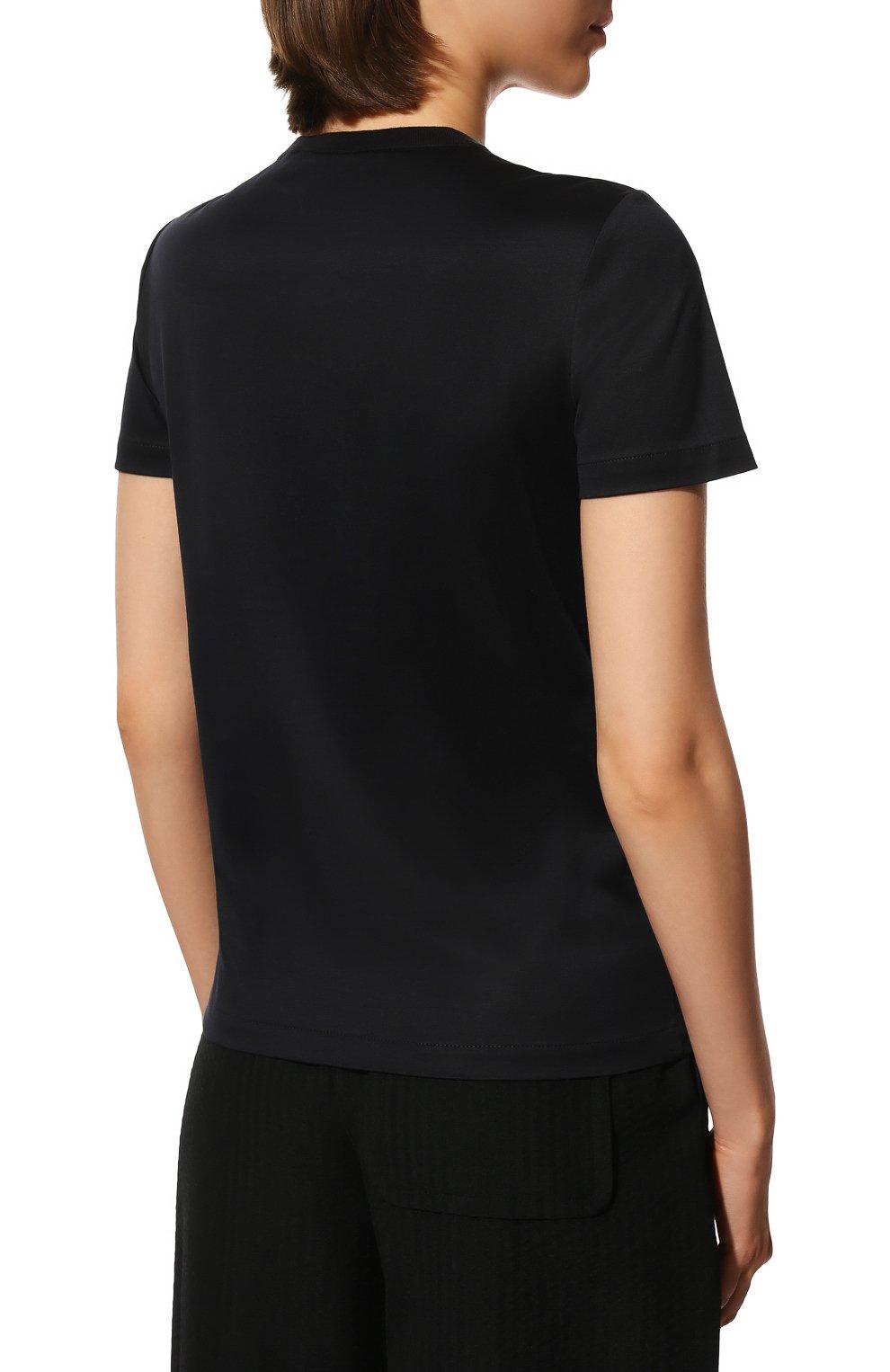 Женская хлопковая футболка LORO PIANA темно-синего цвета, арт. FAI5069   Фото 4 (Принт: Без принта; Рукава: Короткие; Длина (для топов): Стандартные; Материал внешний: Хлопок; Стили: Классический, Минимализм, Кэжуэл)