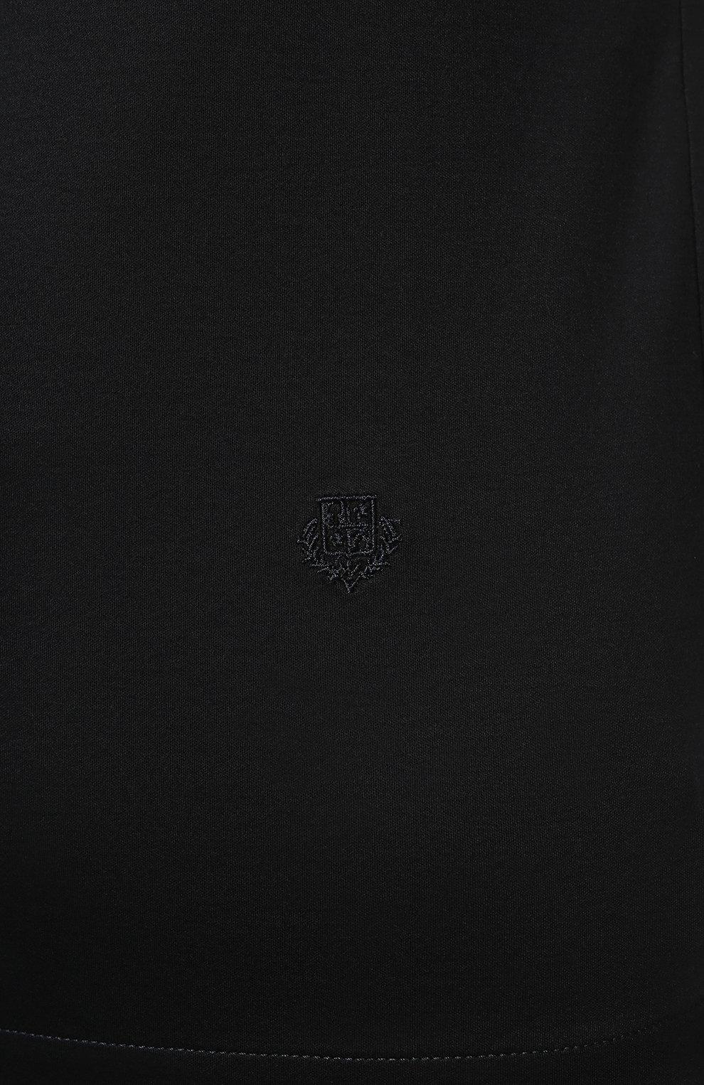 Женская хлопковая футболка LORO PIANA темно-синего цвета, арт. FAI5069   Фото 5 (Принт: Без принта; Рукава: Короткие; Длина (для топов): Стандартные; Материал внешний: Хлопок; Стили: Классический, Минимализм, Кэжуэл)