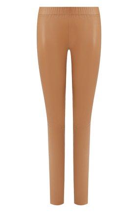 Женские кожаные леггинсы MAX&MOI бежевого цвета, арт. PERLEGGING | Фото 1