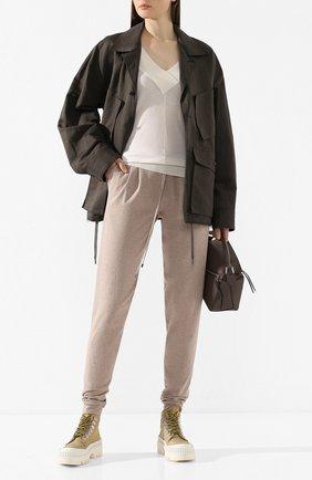 Женские хлопковые брюки TAK.ORI бежевого цвета, арт. PTK50019WV100SS20 | Фото 2