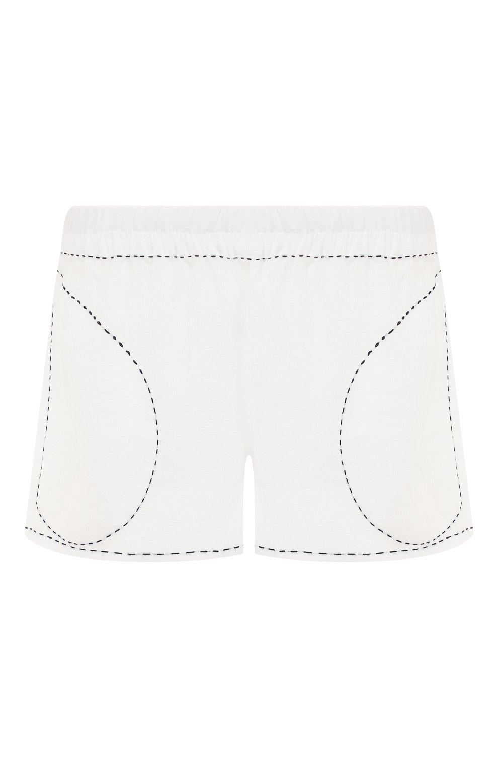 Женские льняные шорты VITA KIN белого цвета, арт. SHR-0053/NPL-2 | Фото 1 (Женское Кросс-КТ: Шорты-одежда; Длина Ж (юбки, платья, шорты): Мини; Материал внешний: Лен; Статус проверки: Проверена категория)