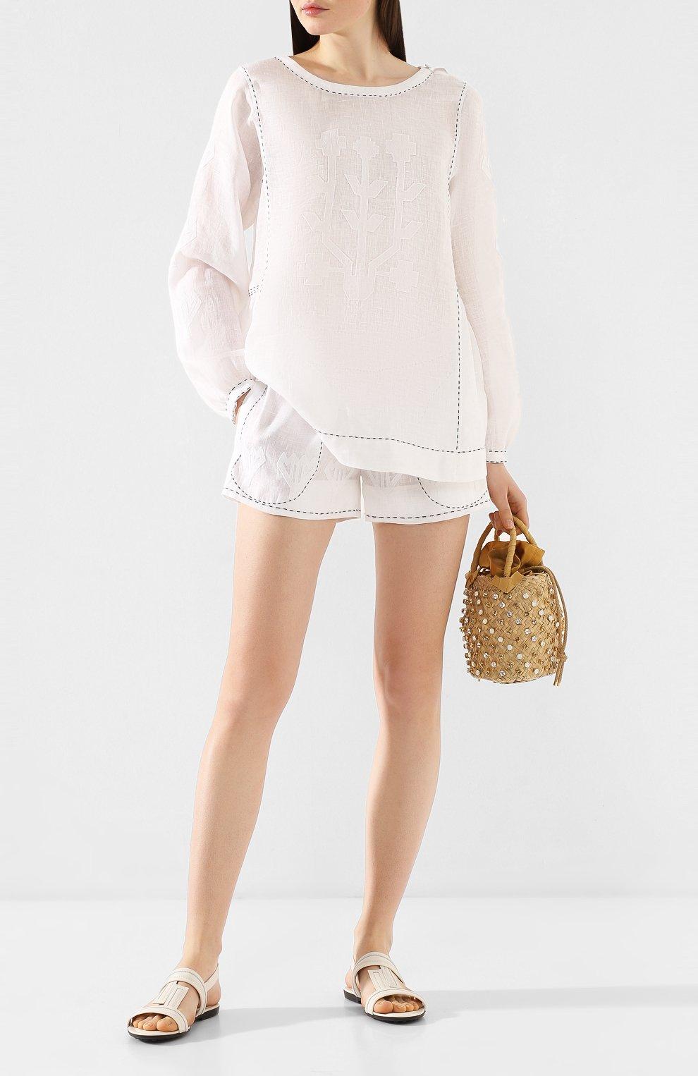 Женские льняные шорты VITA KIN белого цвета, арт. SHR-0053/NPL-2 | Фото 2 (Женское Кросс-КТ: Шорты-одежда; Длина Ж (юбки, платья, шорты): Мини; Материал внешний: Лен; Статус проверки: Проверена категория)