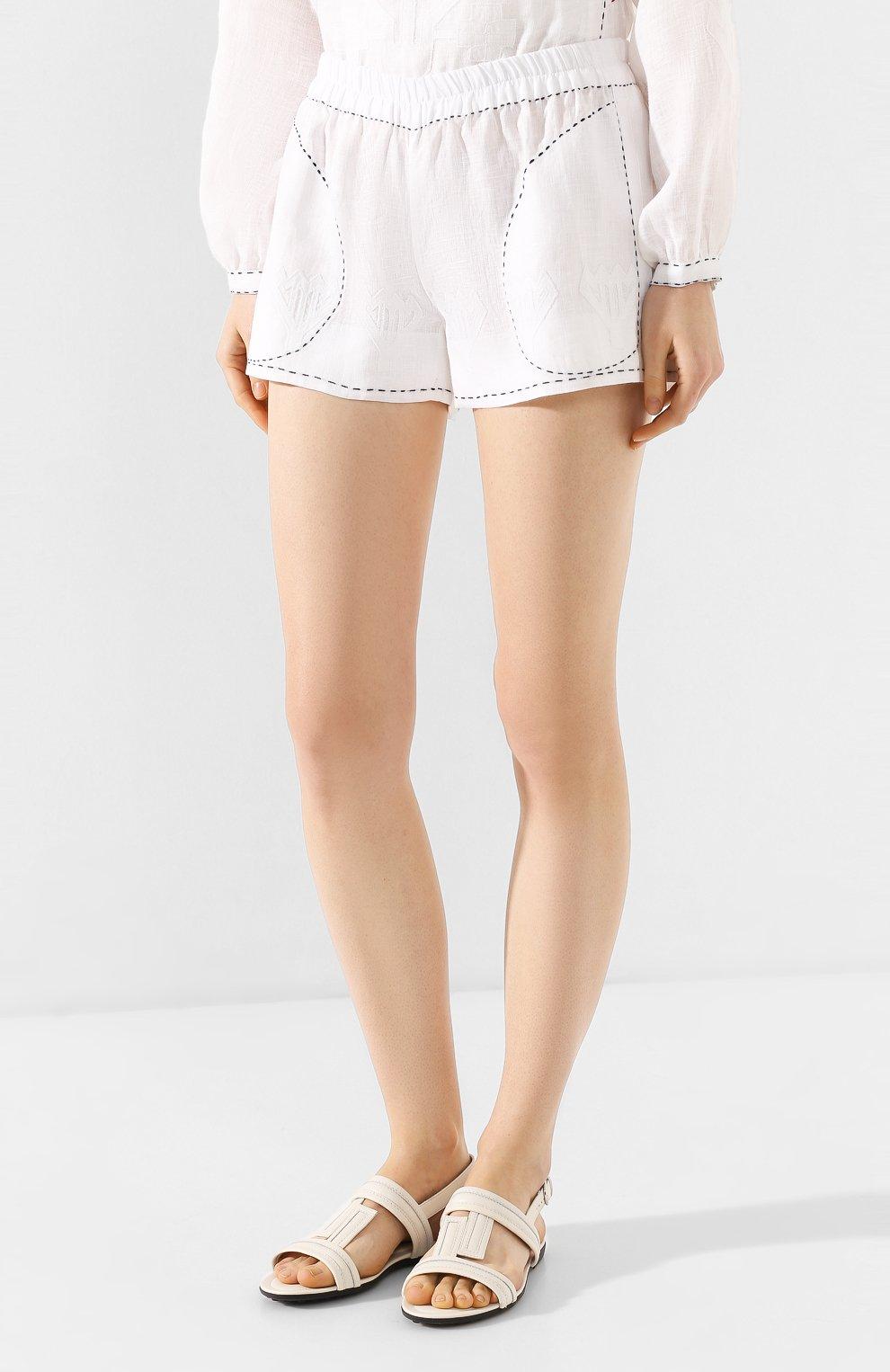 Женские льняные шорты VITA KIN белого цвета, арт. SHR-0053/NPL-2 | Фото 3 (Женское Кросс-КТ: Шорты-одежда; Длина Ж (юбки, платья, шорты): Мини; Материал внешний: Лен; Статус проверки: Проверена категория)