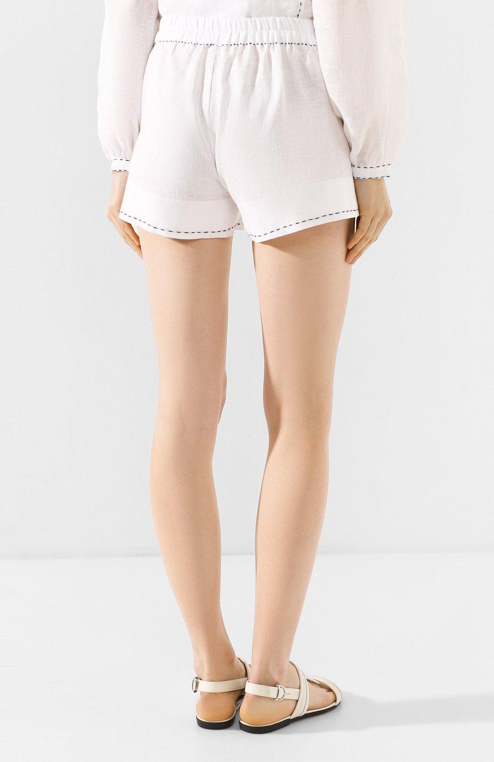 Женские льняные шорты VITA KIN белого цвета, арт. SHR-0053/NPL-2 | Фото 4 (Женское Кросс-КТ: Шорты-одежда; Длина Ж (юбки, платья, шорты): Мини; Материал внешний: Лен; Статус проверки: Проверена категория)